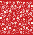 red gold plum blossom flower seamless pattern vector image