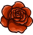 red rose cartoon style on white background vector image vector image