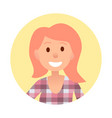 redhead girl with broad smile portrait in circle vector image vector image