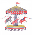 retro style carousel roundabout or merry-go-round vector image