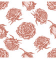 seamless pattern with hand drawn pastel roses vector image vector image