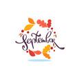 september lettering season composition vector image vector image