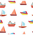 ships and boats - sea seamless pattern vector image