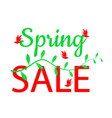 spring sale design text with green leaves and red vector image vector image