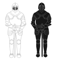 Standing knight medieval armor statue Contour vector image vector image