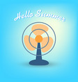 summertime hello summer with fan vector image