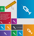 syringe icon sign buttons Modern interface website vector image