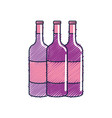 tasty wine bottles beverage icon vector image vector image
