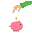the man put money into a money box c vector image vector image