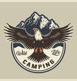 vintage summer adventure colorful emblem vector image vector image
