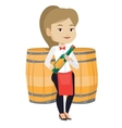 Waitress holding bottle of alcohol vector image vector image