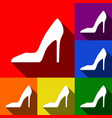 woman shoe sign set of icons with flat vector image vector image