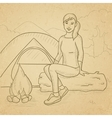 Woman sitting at camp vector image vector image
