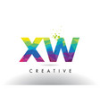 xw x w colorful letter origami triangles design vector image vector image