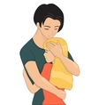 Young couple is hugging vector image vector image