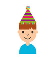 young man with party hat avatar character vector image vector image