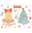Sketchy elements set with a Christmas tree and a vector image