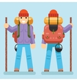 Backpaker Character Mountain Travel Trip Vacation vector image vector image