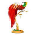 beautiful bird paradise sitting on a wooden vector image vector image