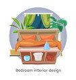 bedroom interior or hotel room cartoon vector image