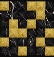 black and gold glitter marble 3d geometric vector image