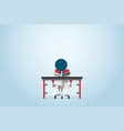 businessman reading newspaper on chair with table vector image vector image