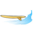 cartoon wooden surfing boardon the water wave vector image