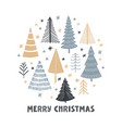 christmas tree set greeting card vector image vector image