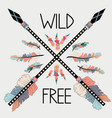 colorful with crossed ethnic arrows feathers and vector image
