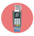 debit or credit card inserted into the pos vector image