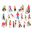 disabled people isometric set vector image