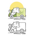 elephant washes car and drives vector image vector image