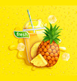fresh pineapple juice to go splash banner vector image vector image
