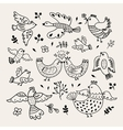 Funny hand drawn birds Decorative doodle vector image