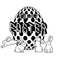 happy easter with cute bunny and easter egg vector image