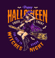 happy halloween vintage colorful badge vector image