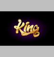 king 3d gold golden text metal logo icon design vector image vector image