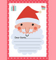 letter to santa claus a4 template with cute vector image vector image