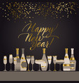 luxury black and gold sparkling champagne vector image vector image