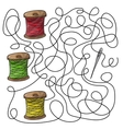 Maze game needle and spools of thread vector image