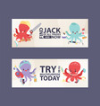 octopus multitasking character vector image vector image