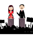 political meeting with people man and woman vector image vector image