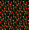 Red Roses on a black background seamless pattern vector image vector image