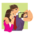 Romantic Love Couple Take A Selfie vector image vector image