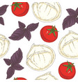 seamless pattern mozzarella tomatoes and basil vector image