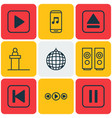 set of 9 multimedia icons includes audio mobile vector image vector image