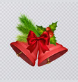 set of red christmas bells with realistic vector image