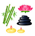 set of spa center elements with bamboo candles vector image