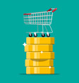 shopping cart on gold dollar coin stack vector image