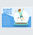 smiling active boy jumping on trampoline kids vector image